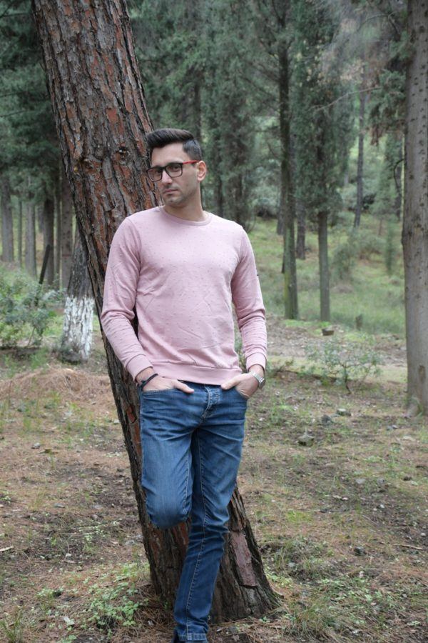 Φούτερ Μπλούζα-Laser cut- Ροζ- Εκρού-Μαύρο- Κίτρινο