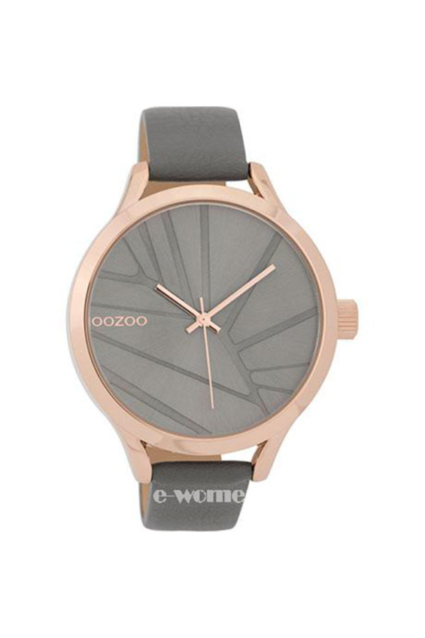 OOZOO Timepieces Grey Leather Strap