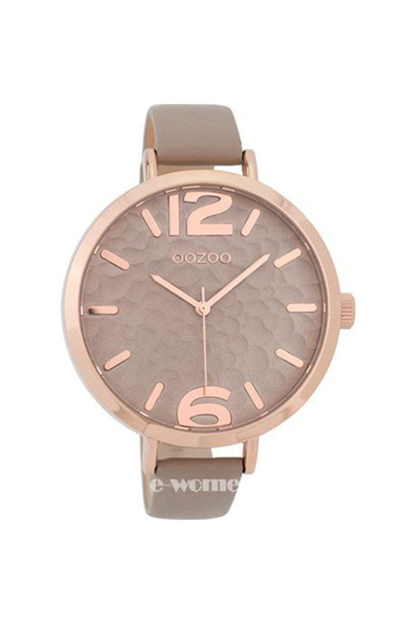 OOZOO Timepieces Rose Gold Beige Leather Strap