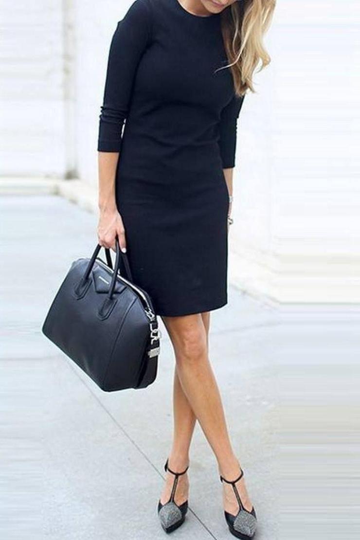 Φόρεμα Μαύρο mini σικ 3/4 μανίκι