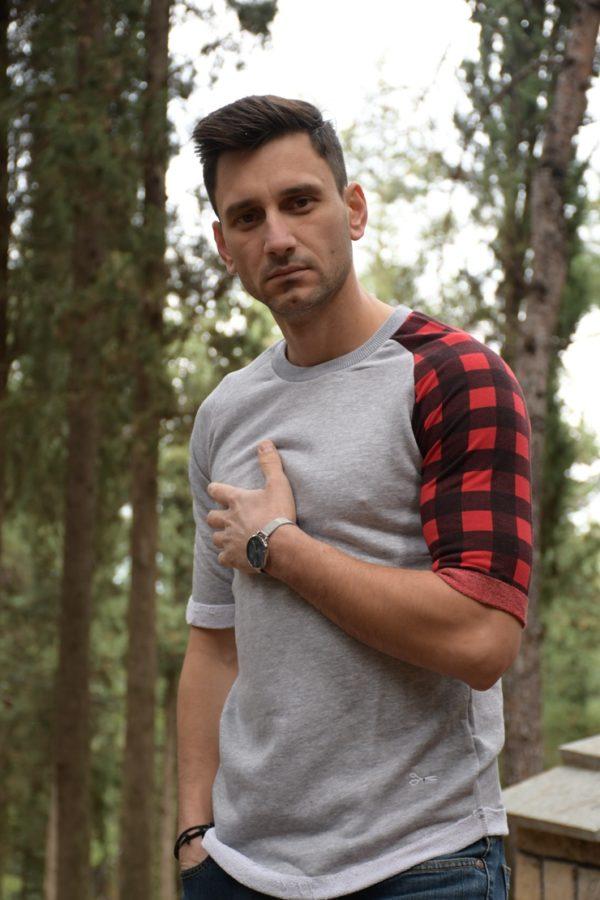 Μπλούζα-Sweat t-shirt plaids- Μαύρο- Γκρι