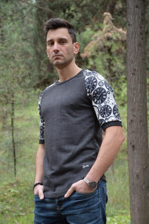 Μπλούζα-Sweat t-shirt clocks- Ανθρακί- Μαύρο