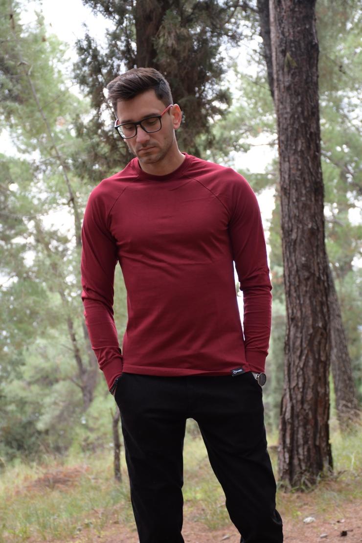 Μπλούζα deleali Μπορντό- μαύρο