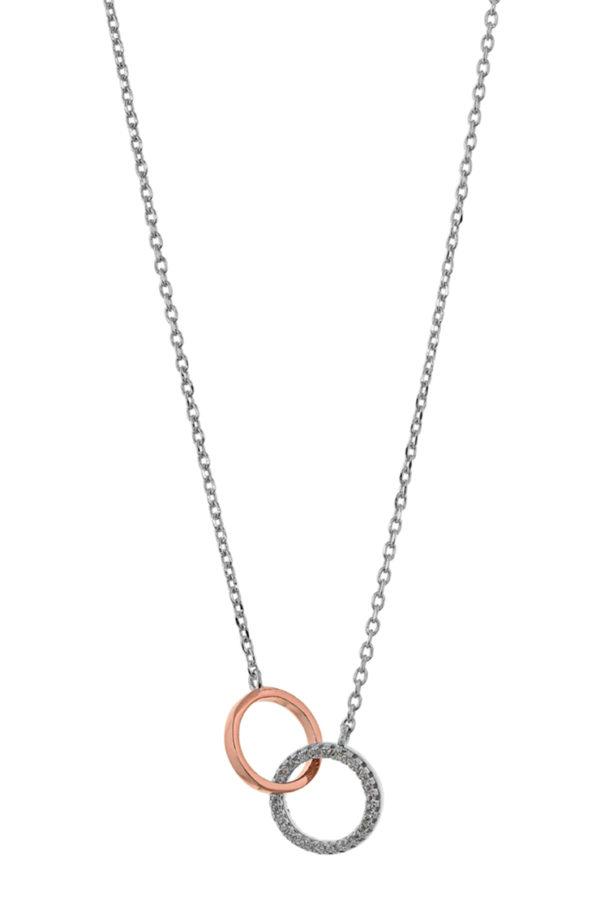 Ασημένιο κολιέ 925° 2 κύκλοι ο ένας ροζ