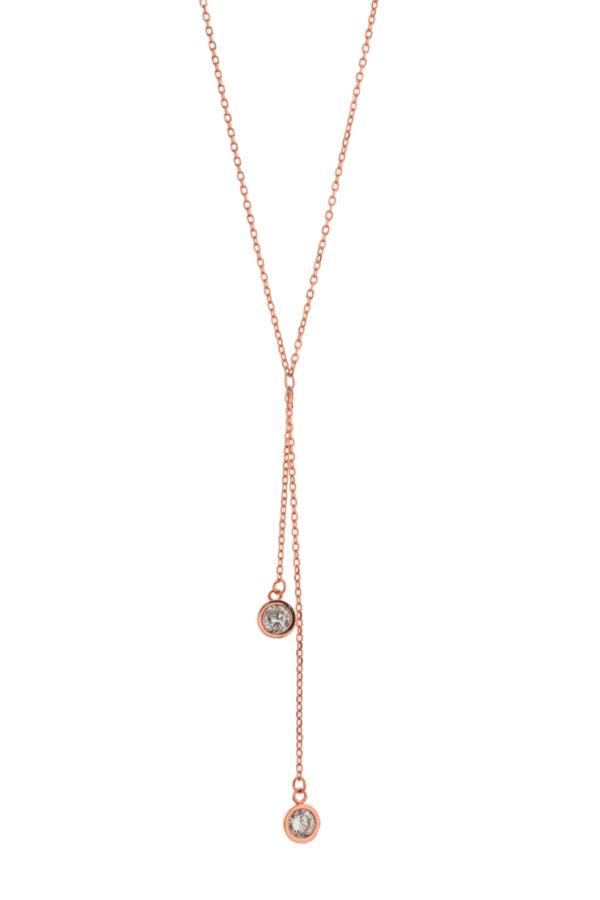 Ασημένιο κολιέ 925° αλυσίδα διπλό στρογγυλό πέτρα