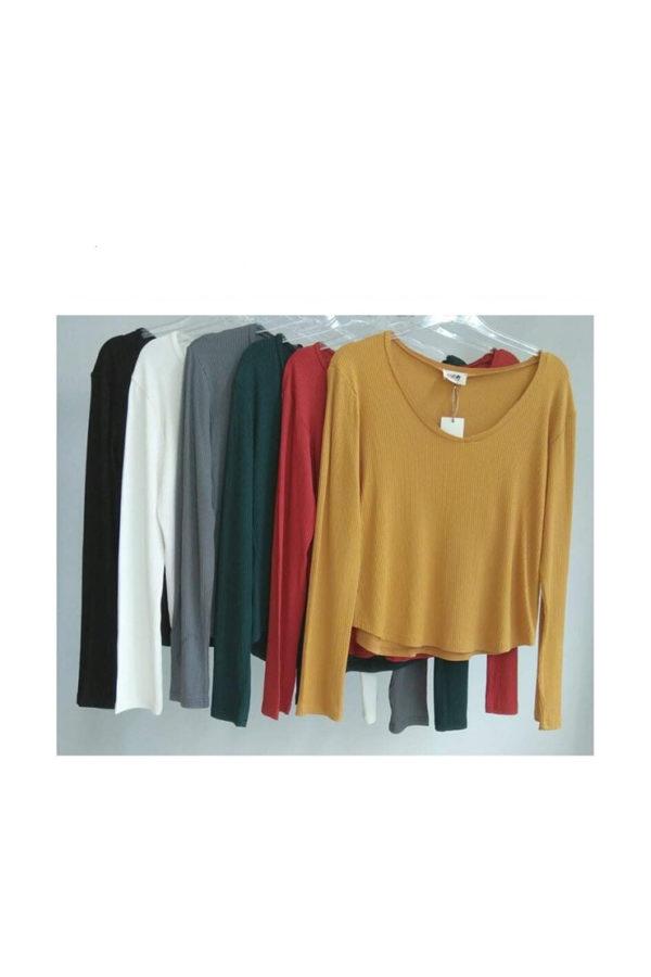 Μπλουζάκι rib σε δυο χρώματα
