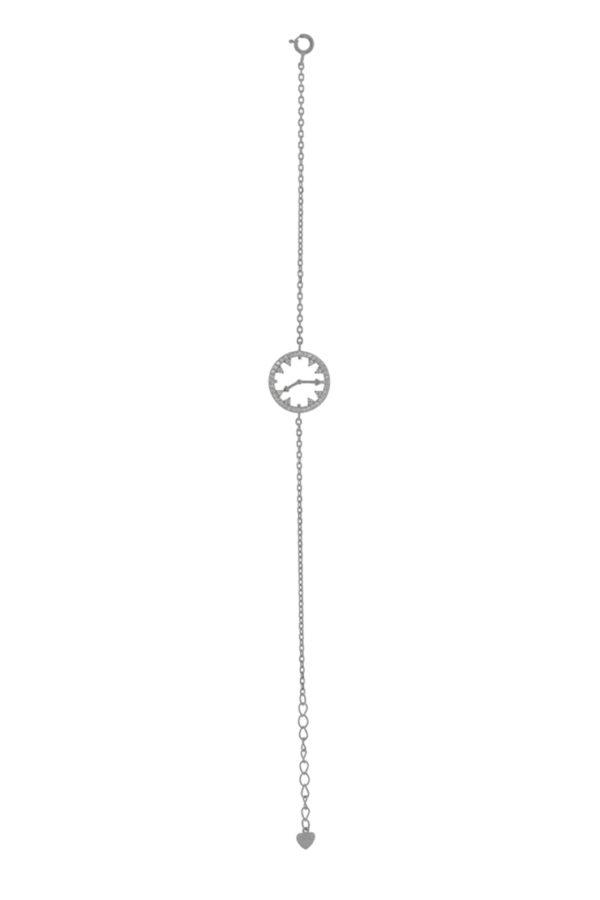Ασημένιο βραχιόλι 925°,με σχέδιο ρολόι