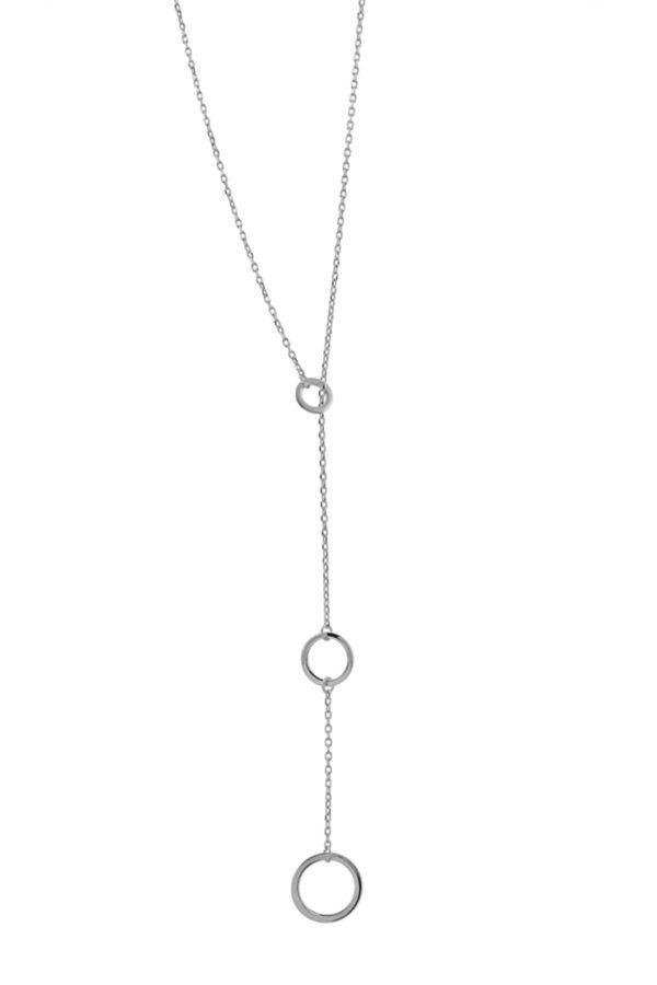 Ασημένιο κολιέ 925° γραβάτα τρεις κύκλοι