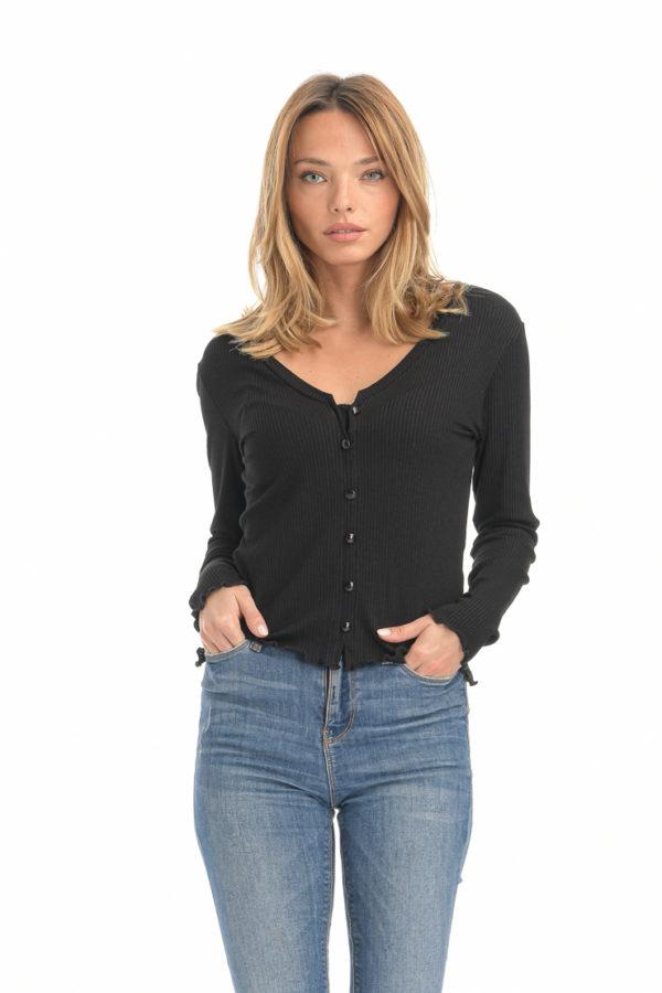 Μπλουζάκι rib με κουμπάκια μαύρο