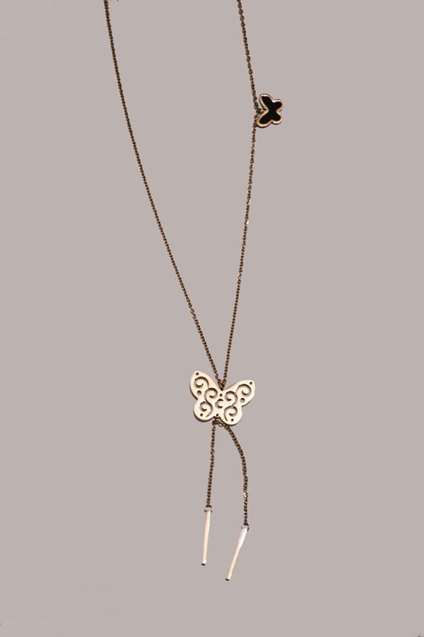 Κολιέ πεταλούδες από ανοξείδωτο ατσάλι