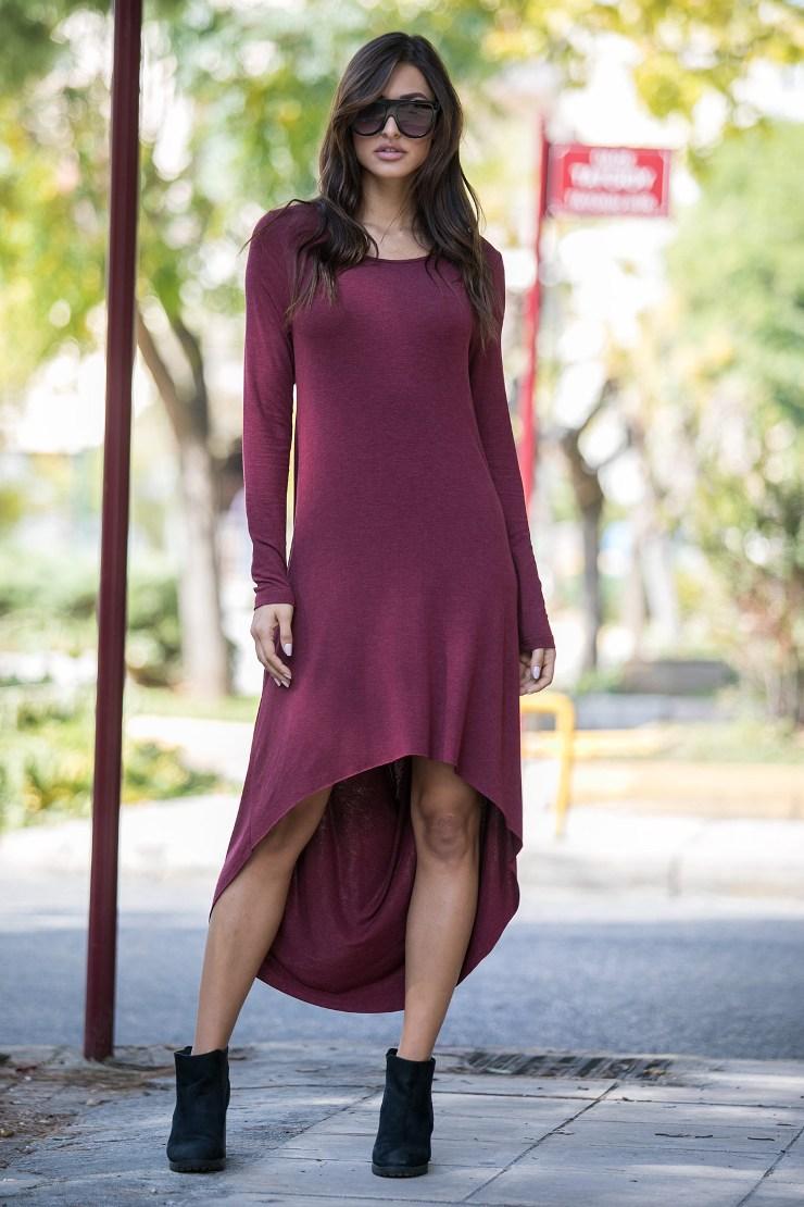 Φόρεμα ασύμμετρο μπορντό