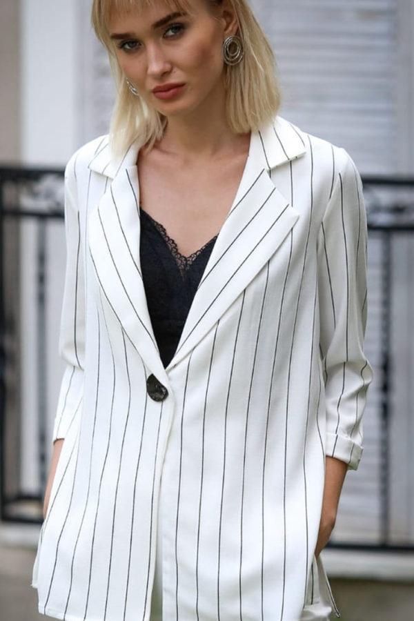 Σακάκι με κουμπί ριγέ λευκό