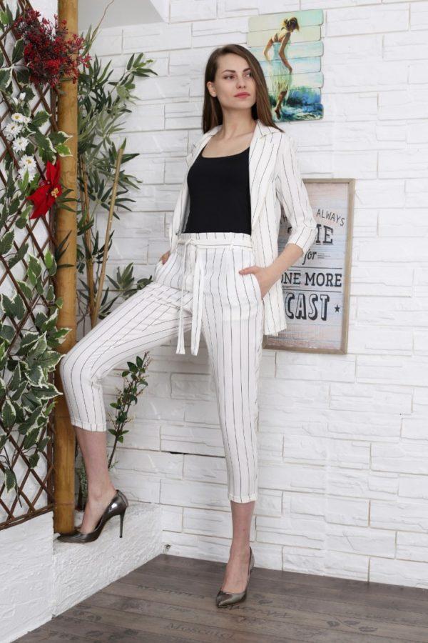 Παντελόνι με ζώνη ριγέ λευκό