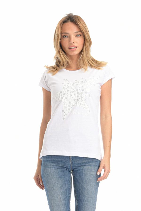 Μπλούζα με αστέρι λευκή