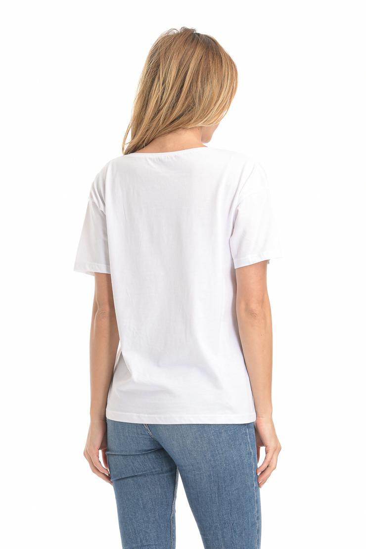 Μπλούζα PINK άνετη εφαρμογή λευκή