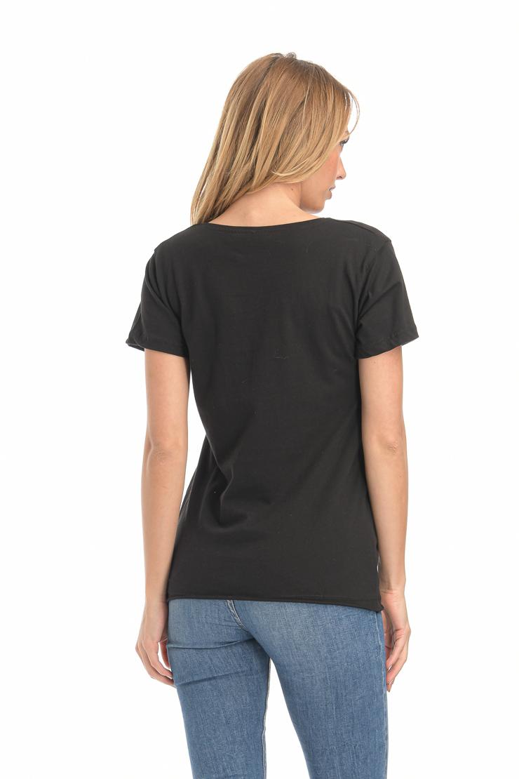 Μπλούζα με στάμπα FAME μαύρη