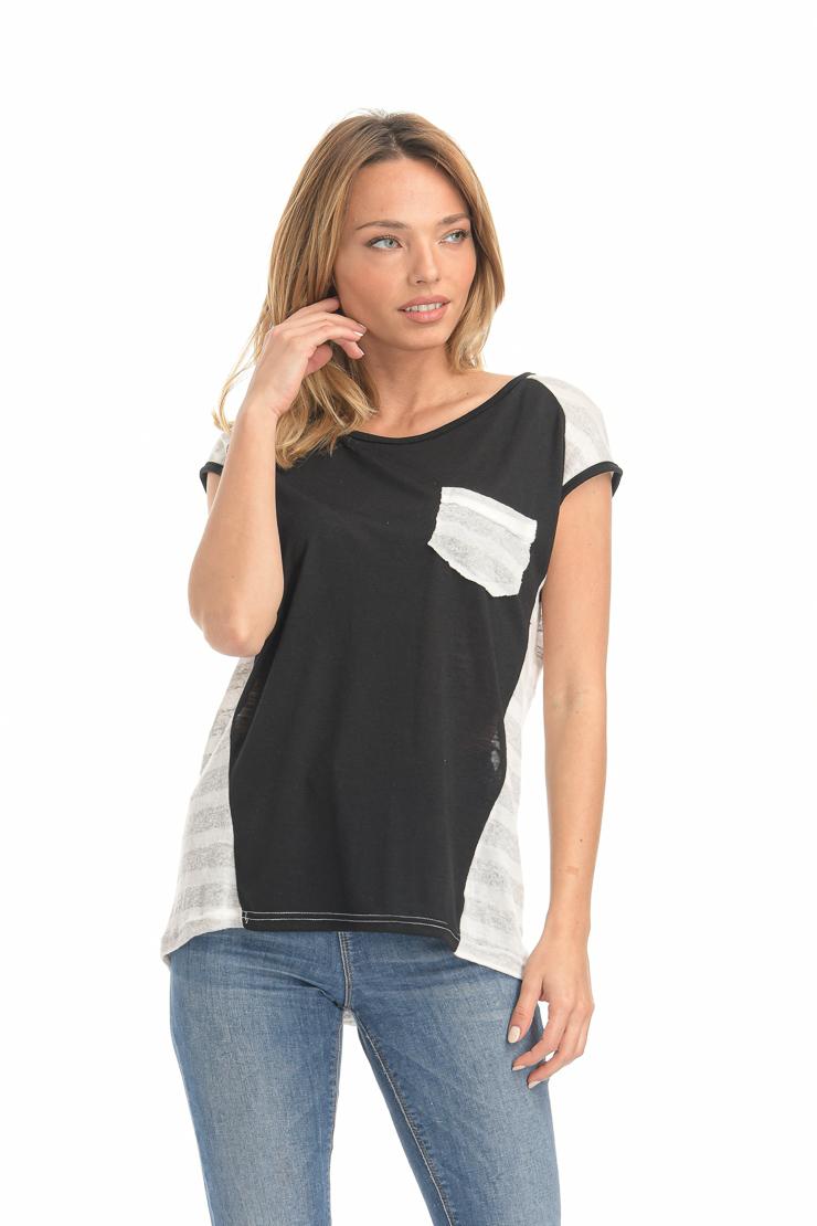 Μπλούζα δίχρωμη ριγέ μπεζ-μαύρη με τσέπη