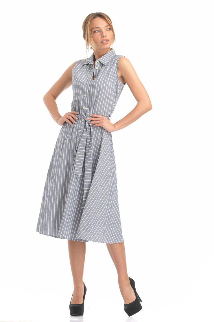 Φόρεμα ριγέ μπλε