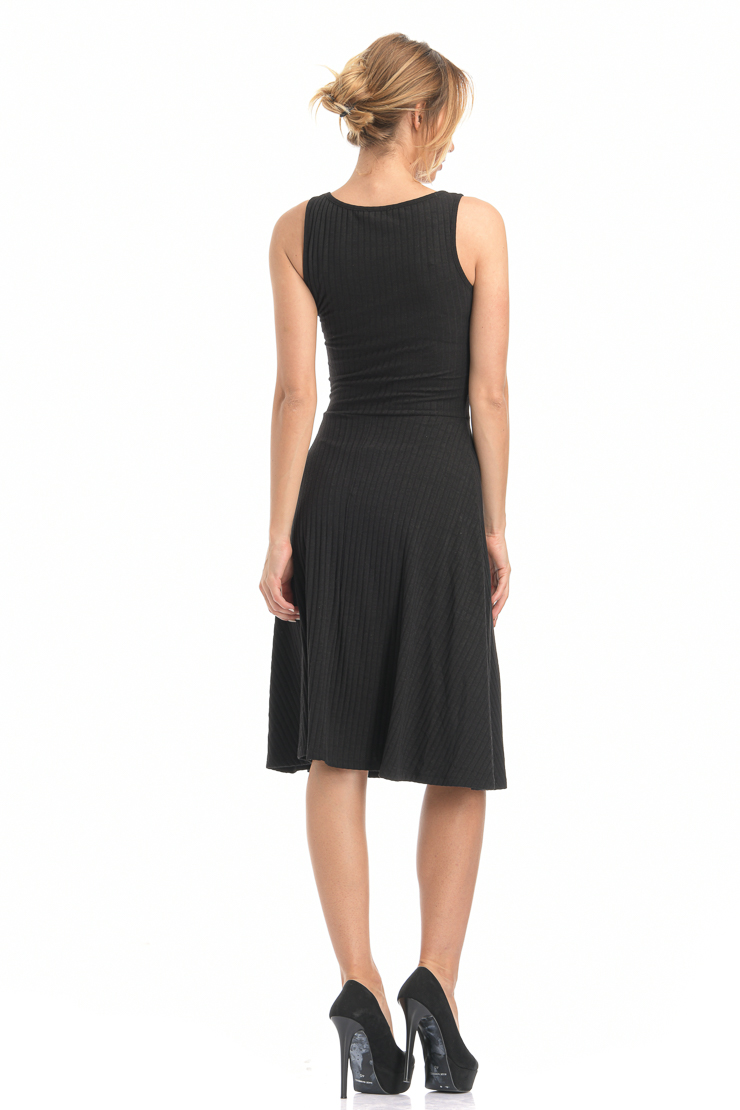 Φόρεμα midi με άνοιγμα μαύρο