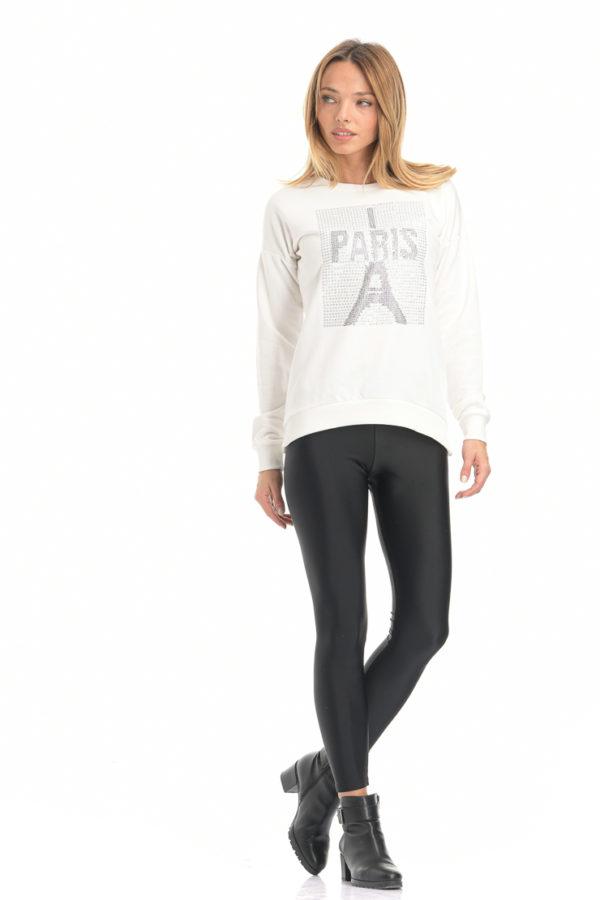 Μπλούζα φούτερ PARIS λευκό