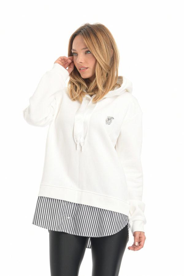 Μπλούζα φούτερ με ρίγες στο τελείωμα λευκό