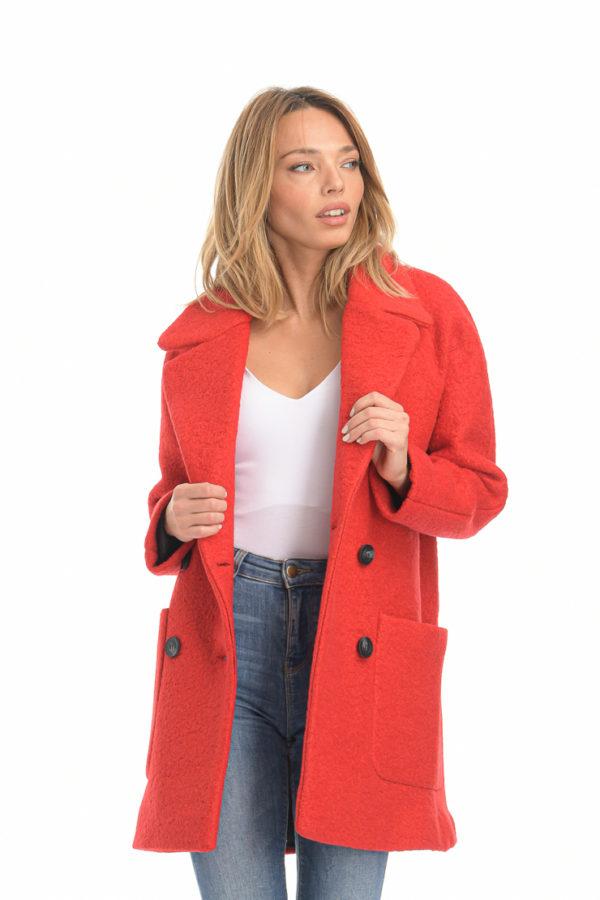 Παλτό μπουκλέ κόκκινο