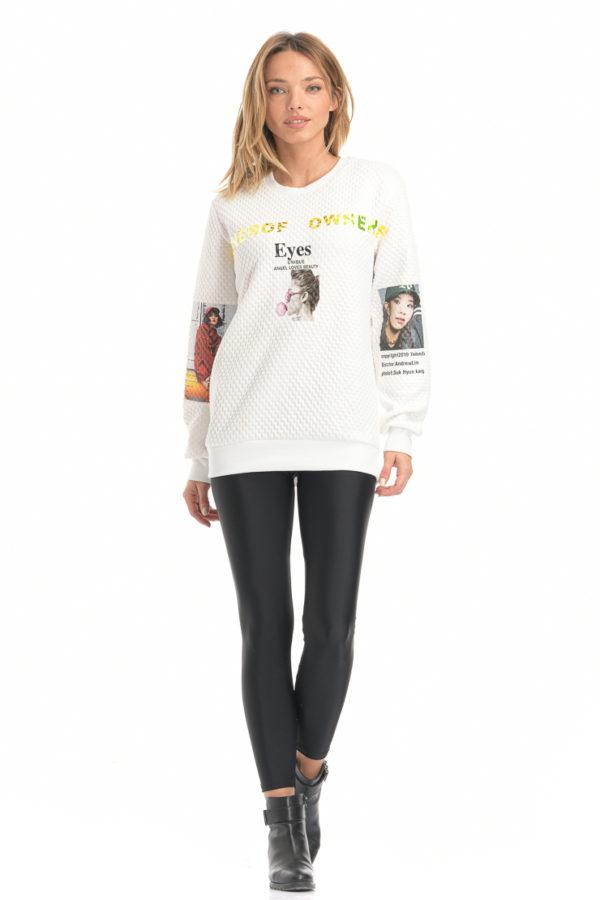 Μπλούζα φούτερ με στάμπα λευκό