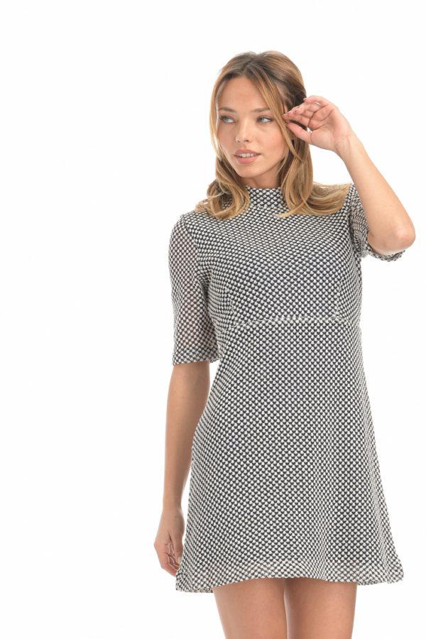 Φόρεμα mini ασπρόμαυρο
