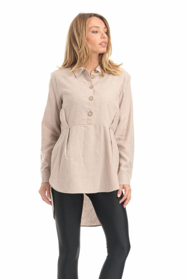 Μπλούζα ασύμμετρη με κουμπιά μπεζ