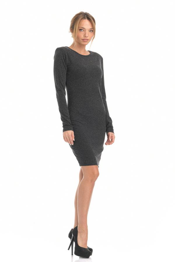 Φόρεμα midi εφαρμοστό ανθρακί