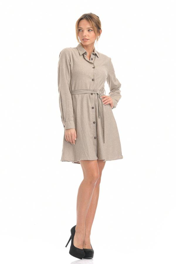 Φόρεμα με κουμπιά και ζώνη στην μέση μπεζ