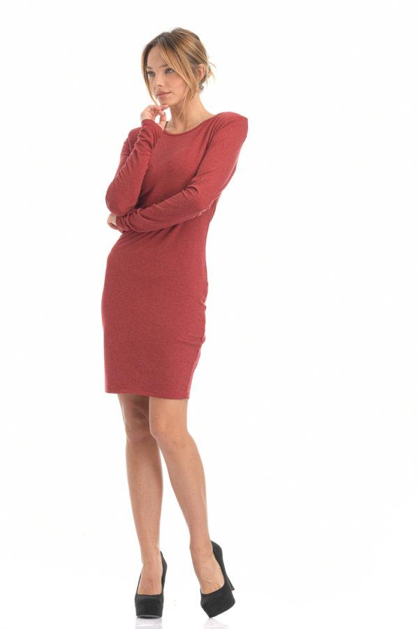 Φόρεμα midi εφαρμοστό μπορντό